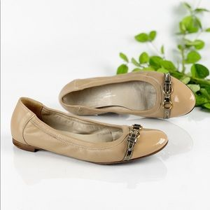 AGL Nude Ballet Flats Belted Patent Cap Toe